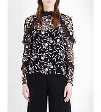 Self Portrait Nightshade Ruffle Guipure Lace Top Black