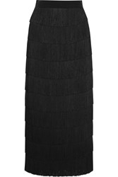 Stella Mccartney Tiered Fringed Silk Crepe De Chine Maxi Skirt Black