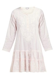 Juliet Dunn Floral Embroidered Tiered Cotton Mini Dress Pink