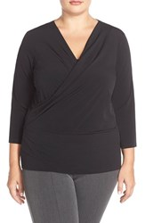 Plus Size Women's Ellen Tracy Faux Wrap Top Black