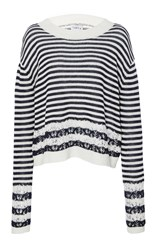 Tanya Taylor Lace Knit Daryn Sweater Stripe
