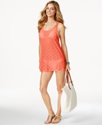 Roxy Crocheted Racerback Cover Up Women's Swimsuit Sunkissed Coral