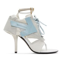 Off White Grey And Blue Runner Heel Sandals