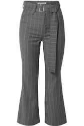 Orseund Iris Cropped Belted Pinstriped Wool Blend Flared Pants Gray