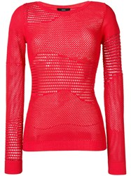 Diesel Pointelle Knitted Jumper Red