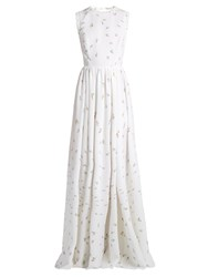 Emilia Wickstead Herbe Sleeveless Floral Print Cloque Gown White Multi