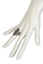 Free Press Diamond Shaped Etched Ring Metallic