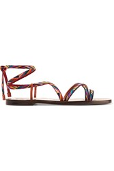 Valentino Embroidered Leather Sandals Tan