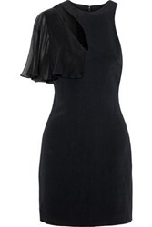 Cushnie Et Ochs Ruffled Chiffon Paneled Cutout Stretch Cady Mini Dress Black