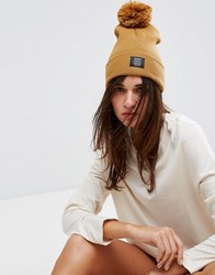 Dickies Pom Beanie In Caramel Brown Tan