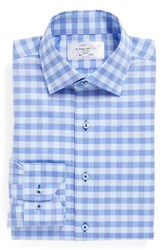 Lorenzo Uomo Men's Big And Tall Trim Fit Check Dress Shirt Blue Purple