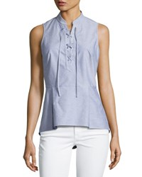 Veronica Beard Lace Up Oxford Shirting Top Blue