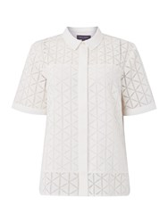 Pied A Terre Top Geo Burnout Shirt White