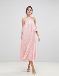True Decadence Pleated Swing Dress With Cold Shoulder Detail Pale Peach Orange