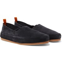 Mulo Suede Collapsible Heel Loafers Dark Gray