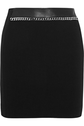 Sandro Joyau Chain Embellished Stretch Jersey Mini Skirt Black