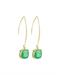 Lydell Nyc Crackled Crystal Threader Earrings Green