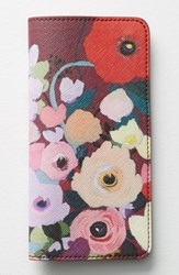Anthropologie Picturesque Florals Travel Wallet Burgundy Wine