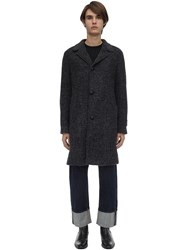 Massimo Piombo Single Breasted Alpaca Blend Coat Black