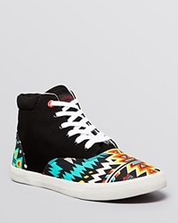 Bucketfeet Flat Lace Up High Top Sneakers Archer Tribal Print Black Orange