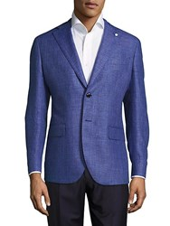 Lubiam Wool And Linen Mini Check Sportcoat Light Blue
