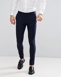 Asos Super Skinny Fit Suit Trousers In Navy Navy