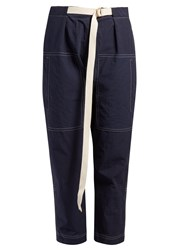 Marni Contrast Stitch Cropped Trousers Blue
