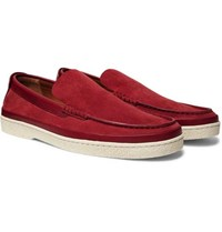 Ermenegildo Zegna Leather Trimmed Suede Loafers Red