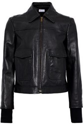 Red Valentino Embroidered Leather Jacket Black