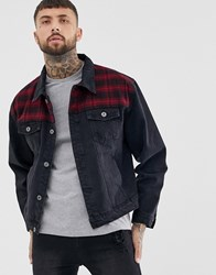 Liquor N Poker Denim Jacket In Washed Black With Check Patches