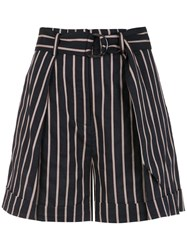 Andrea Marques Belted Striped Shorts Blue