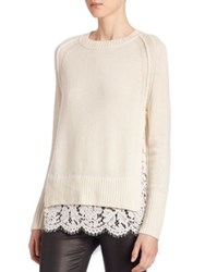 Brochu Walker Lace Cashmere Blend Top Milk