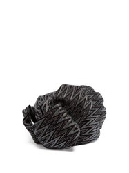 Missoni Zigzag Metallic Crochet Knit Turban Hat Black
