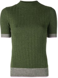 Tome Contrast Trim Knitted Top Green