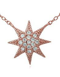 Lord And Taylor Rose Goldtone Sterling Silver Cubic Zirconia Starburst Pendant Necklace