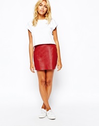 American Apparel Suede Mini Skirt Redsuede