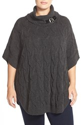 Plus Size Women's Foxcroft Buckle Tab Cable Knit Poncho Top