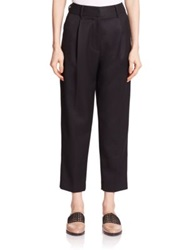 3.1 Phillip Lim Pleat Front Worsted Wool Carrot Pants Black