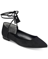 Guess Women's Vida Pointy Toe Ankle Wraparound Ballet Flats Women's Shoes Black