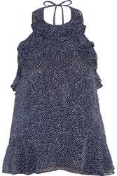Diane Von Furstenberg Blithe Polka Dot Silk Chiffon Top Midnight Blue