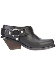 Wanda Nylon Chunky Heel Boots Women Leather 39 Black