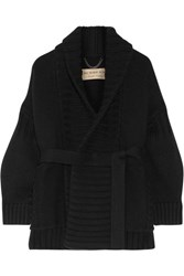 Burberry Ribbed Wool And Cashmere Blend Cardigan Black