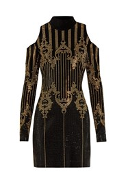 Balmain High Neck Embellished Velvet Dress Black Multi