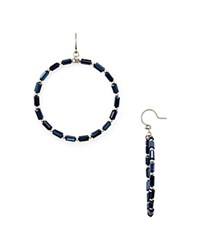 Chan Luu Beaded Hoop Earrings Navy Blue