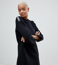 Vans Black Sweat Dress With Checkerboard Arms