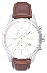 Boss 'Jet Sport' Chronograph Leather Strap Watch 41Mm