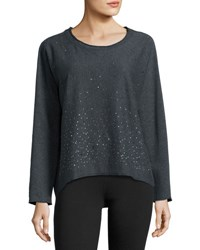 Marc New York High Low Embellished Pullover Sweater Charcoal