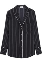 Frame Striped Silk Shirt Midnight Blue