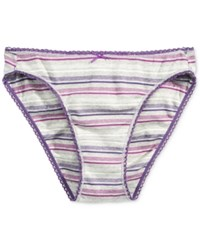 Charter Club Pretty Cotton Bikini Grey Plum Stripe