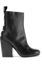 Mcq By Alexander Mcqueen Studded Paneled Leather Ankle Boots Black